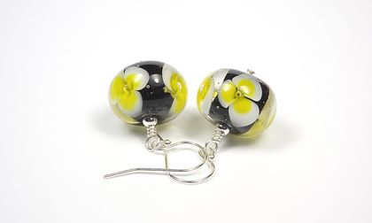 Black and Yellow Lampwork Glass and Sterling Silver Floral Earrings