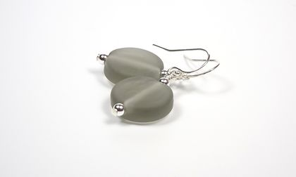 Grey Beach Glass - Lampwork Glass and Sterling Silver Earrings