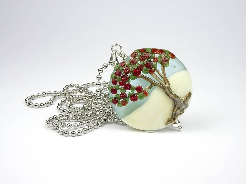 Lampwork Glass Pohutukawa Tree and Sterling Silver Pendant