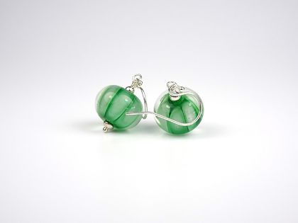 Green Stripe Lampwork Glass Earrings