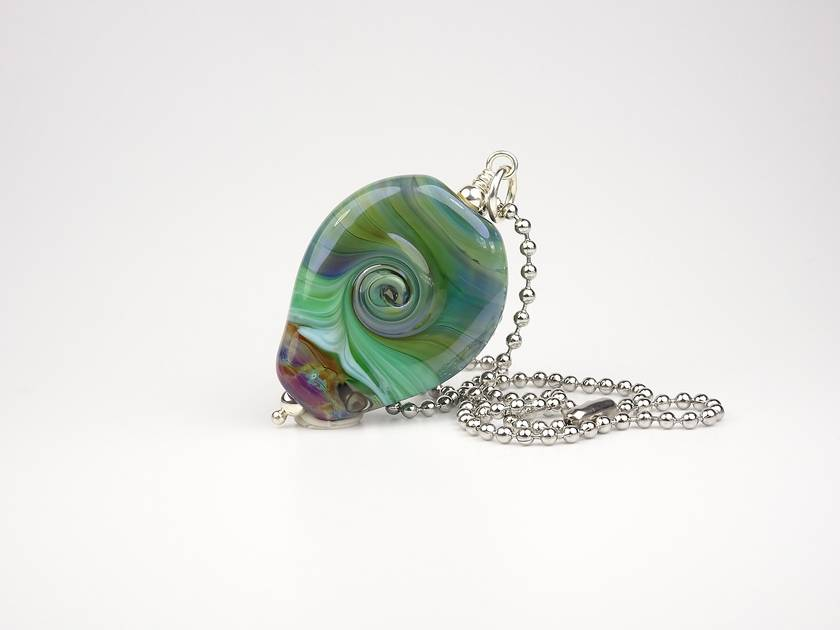 Lampwork Glass Pohutukawa Tree and Sterling Silver Pendant