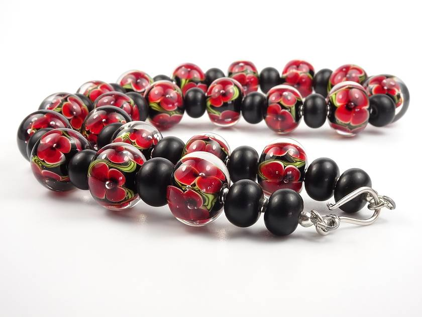 Lampwork Glass Floral Necklace