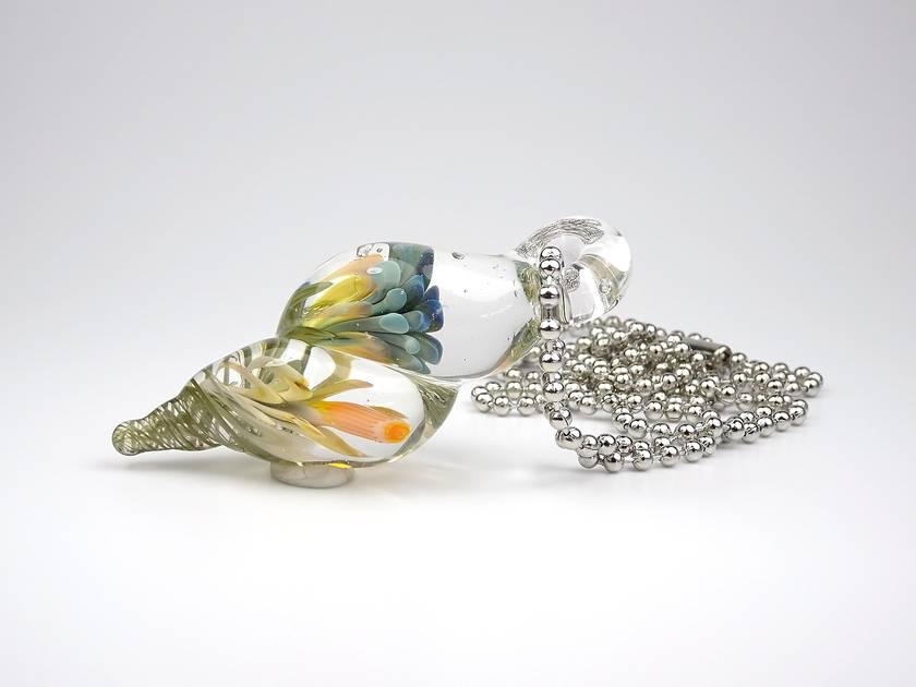 Lampwork Glass Flower Implosion Pendant
