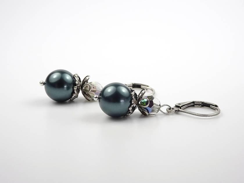 Modern Vintage Tahitian Colour Pearl Earrings