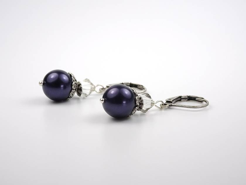 Modern Vintage Night Blue Pearl Earrings