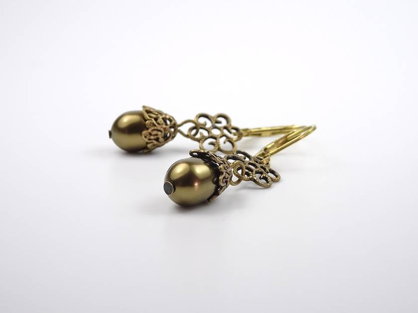 Modern Vintage Brass Pearl Earrings