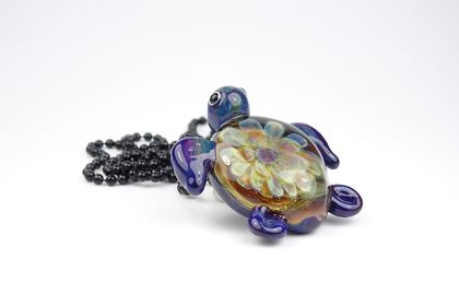 Lampwork Glass Sea Turtle Pendant