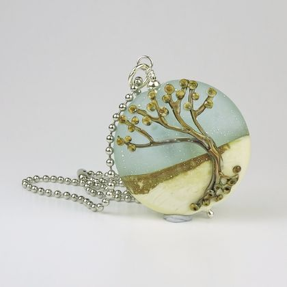 Lampwork Glass and Sterling Silver Winter Tree Pendant