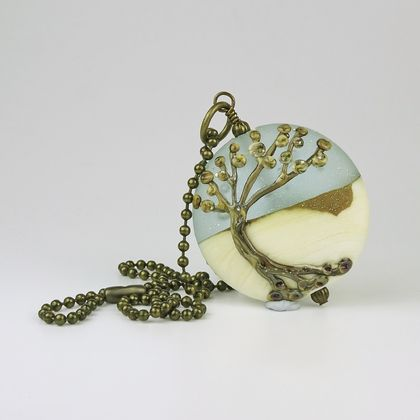 Lampwork Glass and Aged Brass Winter Tree Pendant