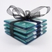Aqua, Turquoise and White Striped Fused Glass Coasters Set of 4