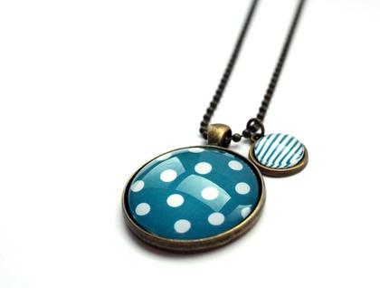 Polka & Stripes Necklace - Blue