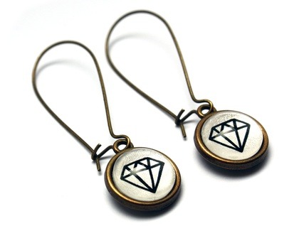 Diamond Earrings - White