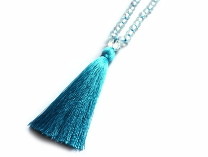 Blue Tassel & Crystal Necklace