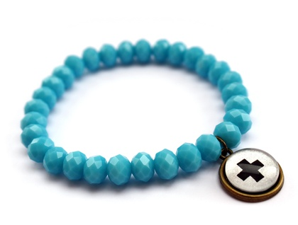 Crystal & Cross Bracelet - Blue