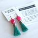 Leather Tassel Earrings - Teal & Hot Pink - Hypoallergenic