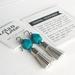 Leather Tassel Earrings - Silver & Teal Green - Hypoallergenic