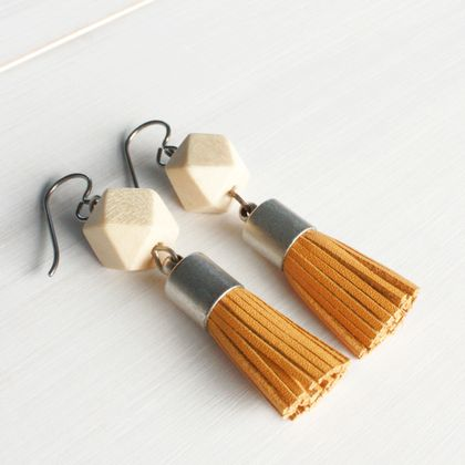 Leather Tassel Dangle Earrings - Mustard & Natural Wood - Hypoallergenic