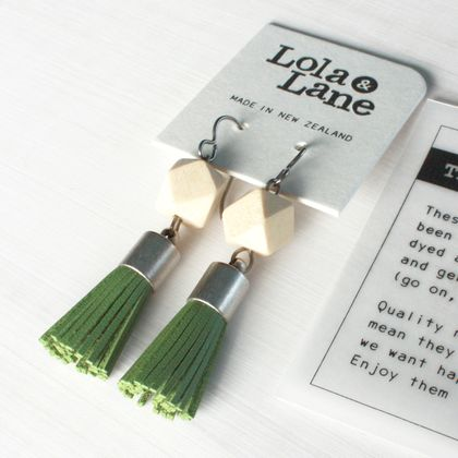Leather Tassel Earrings - Olive Green & Natural Wood - Hypoallergenic