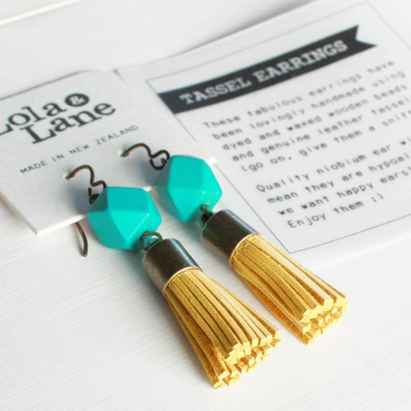 Leather Tassel Dangle Earrings - Yellow & Turquoise - Hypoallergenic