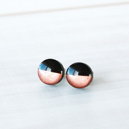 Hypoallergenic Mini Stud Earrings - Gold/Silver/Copper Dipped Black