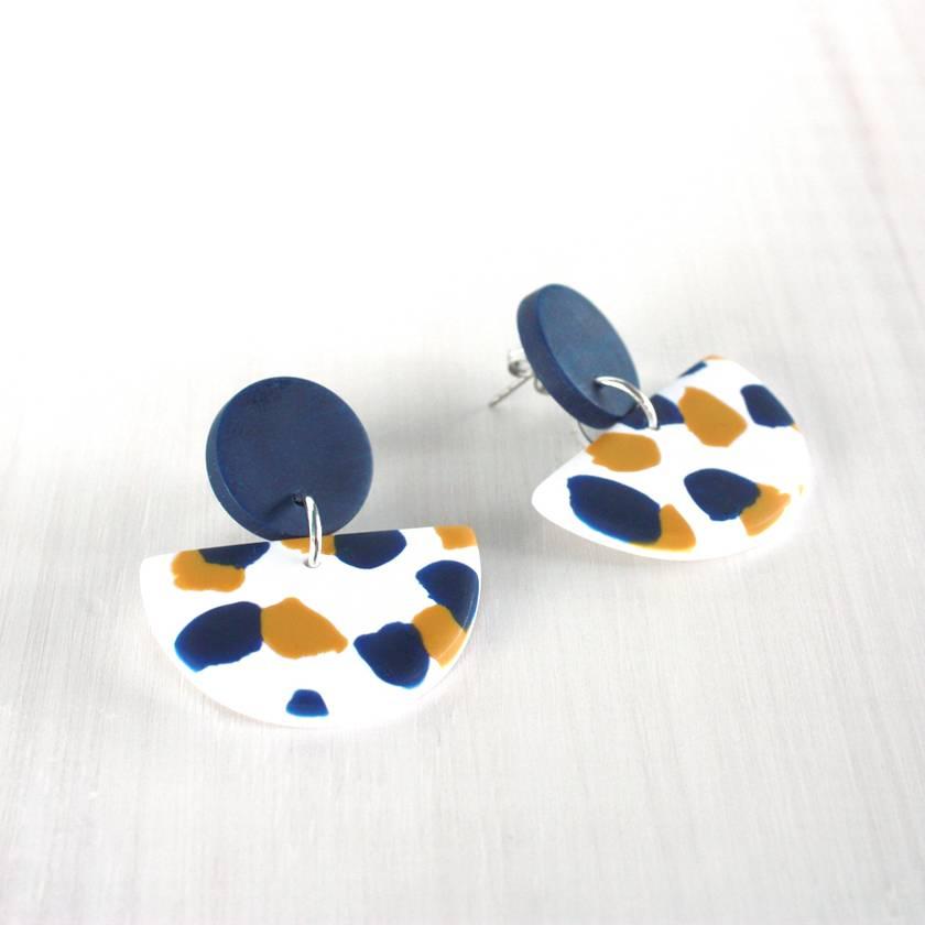 Clay Dangle Earrings - Mustard & Navy