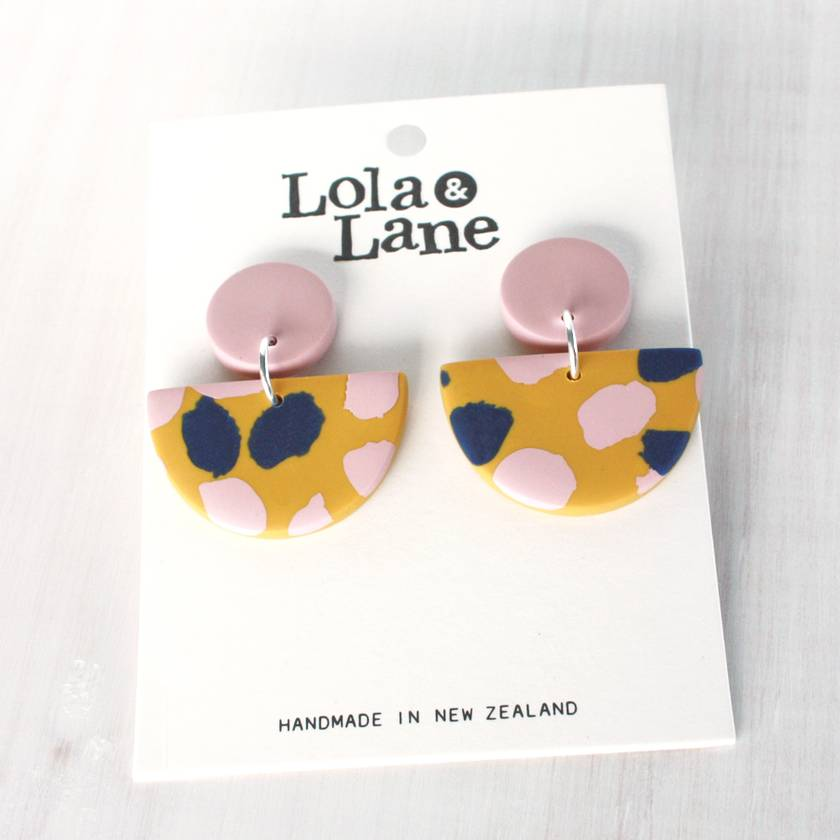 Mustard and navy dangle earrings handmade earrings polymer clay earrings