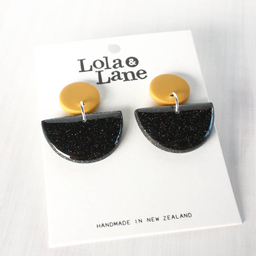 Clay Dangle Earrings - Mustard & Black Glitter