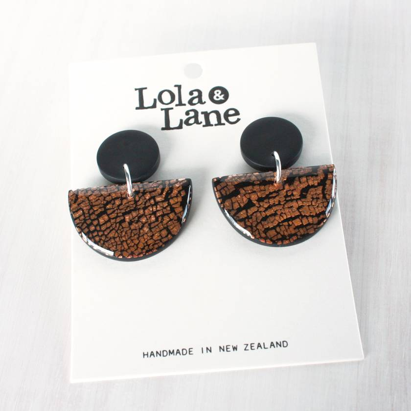 Clay Dangle Earrings - Black & Copper Leaf
