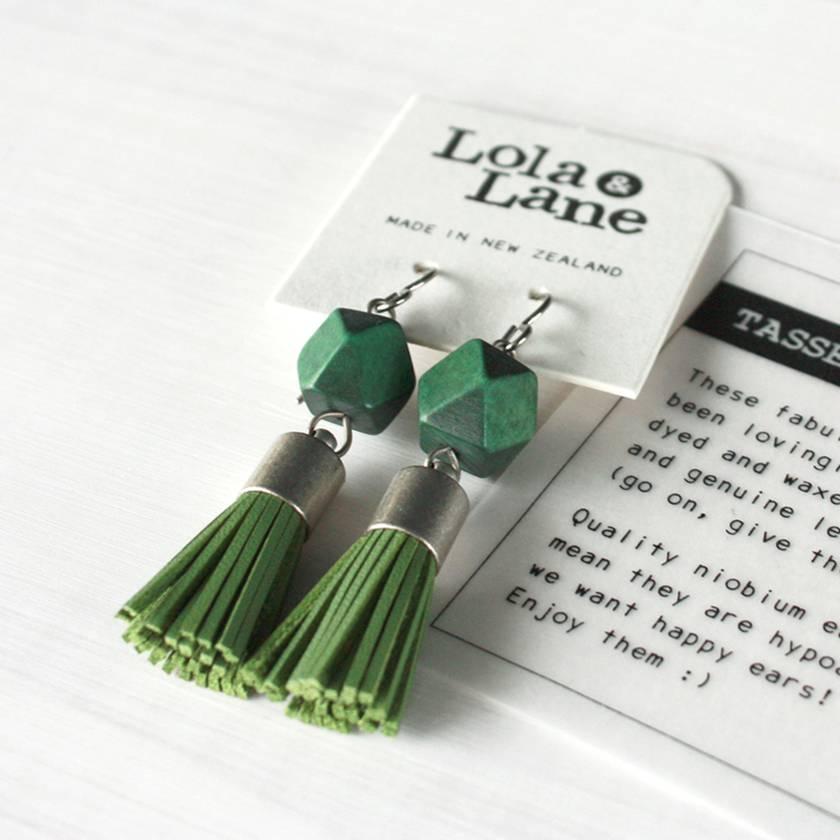 Leather Tassel Earrings - Green - Hypoallergenic