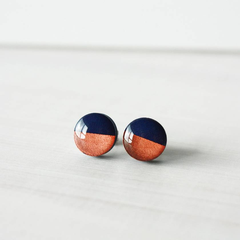 Hypoallergenic Mini Stud Earrings - Copper Dipped Navy Blue