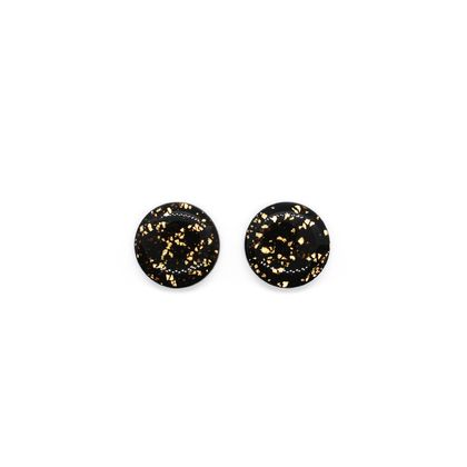 Black Metallic Leaf Studs