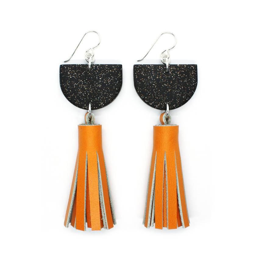 Clay & Leather Tassel Earrings - Black/Mustard
