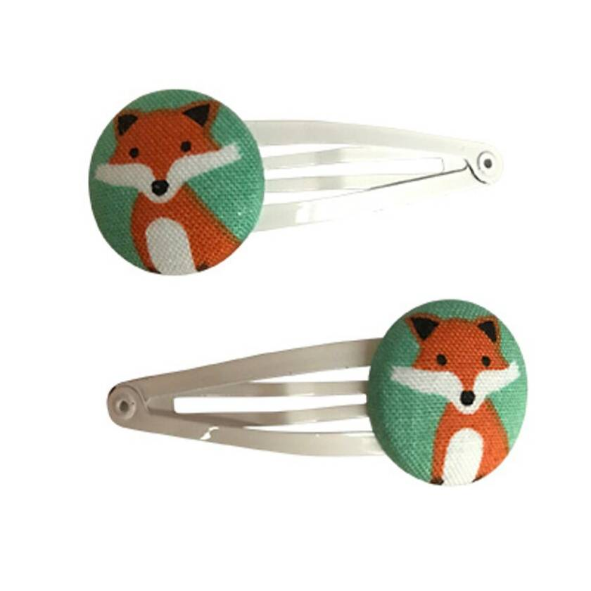 Fabric Covered Hair Clip - Fox, Rainbow and Red Birds