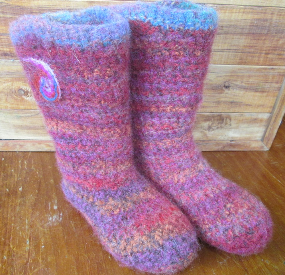 Felted Crochet : Crochet semi-felted slipper boot Felt