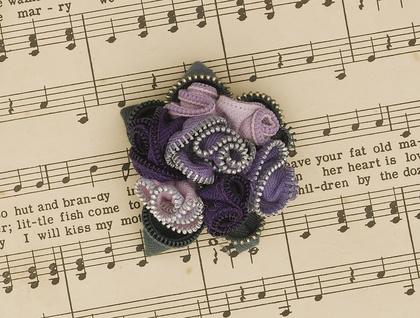 Victorian Posie  zip brooch Purple hues