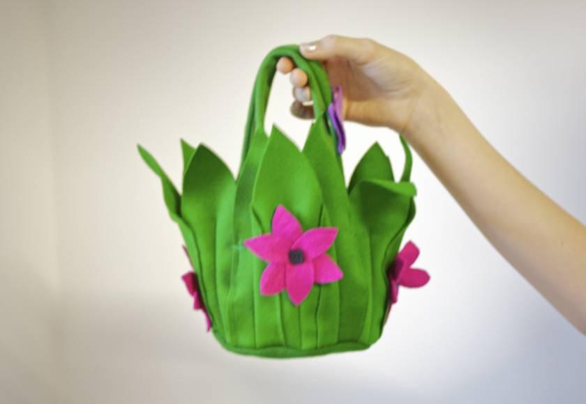Flower tote bag /  basket 100% wool