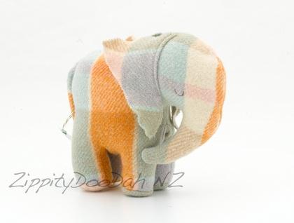 Vintage Blanket  Elephant Toy Orange/Taupe/ Blue