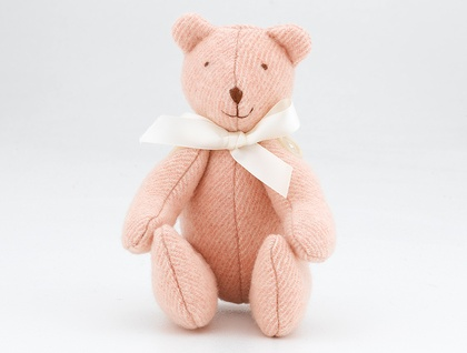 Small Vintage Pink/cream Blanket Bear