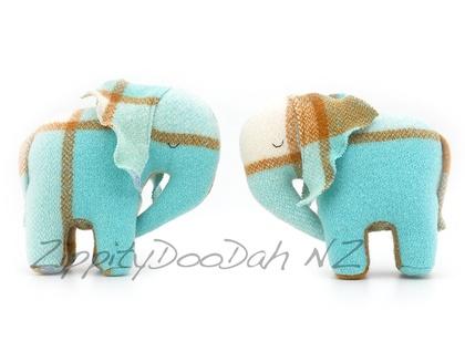 Vintage Blanket  Elephant Toy Aqua/ caramel