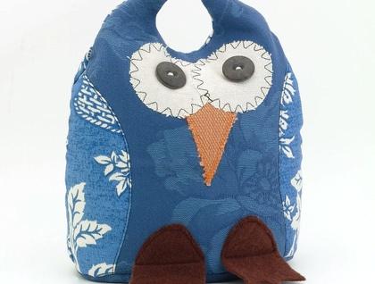 Owl Doorstop- Morepork Butler - BLUE