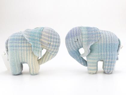 Vintage Blanket  Elephant Toy Pastel blue Tartan