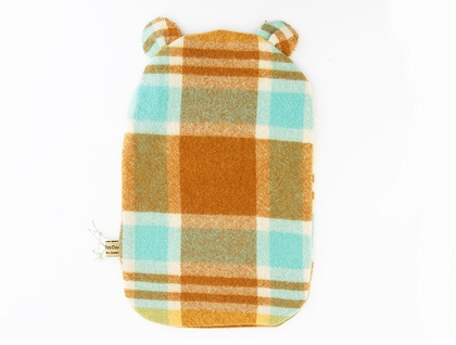 Vintage Bear Hottie Cover - Sunshine Caramel blue check