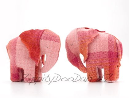Vintage Blanket  Elephant Toy Pink/red/orange