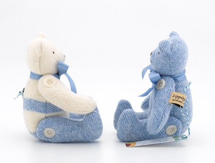 Small Vintage Blue/cream Blanket Bear