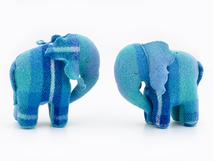 Vintage Blanket  Elephant Toy  Bright blue / Aqua
