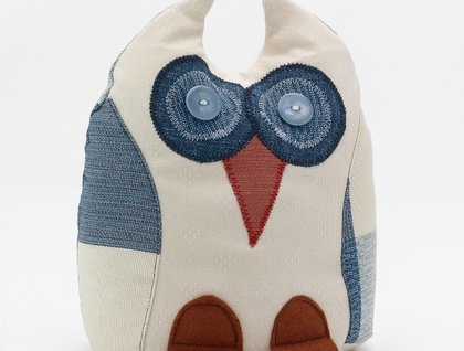 Owl Doorstop- Morepork Butler - BLUE Checkers