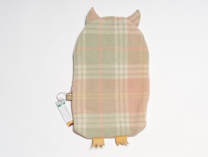 Vintage Owl Hottie Cover Apple green and peach