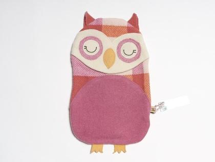 Vintage Owl Hottie Cover Bright pink / orange