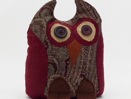 Owl Doorstop- Morepork Butler - Burgundy