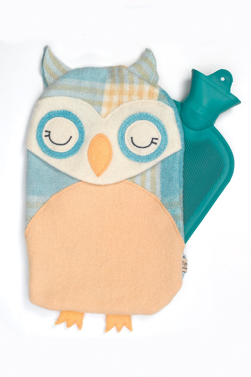 Vintage Owl Hottie Cover -teal
